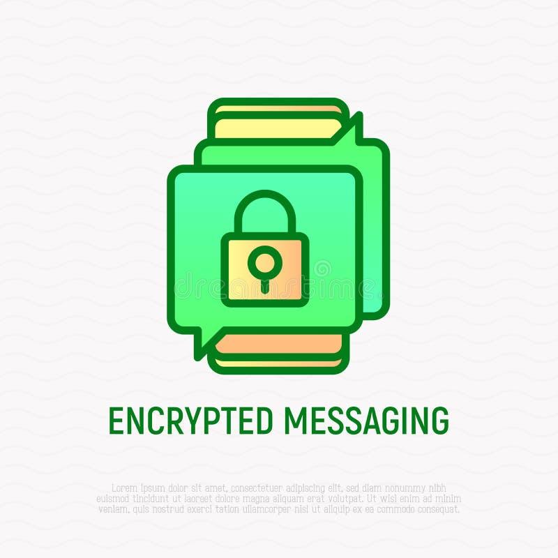 Kodad tunn linje symbol för messaging royaltyfri illustrationer