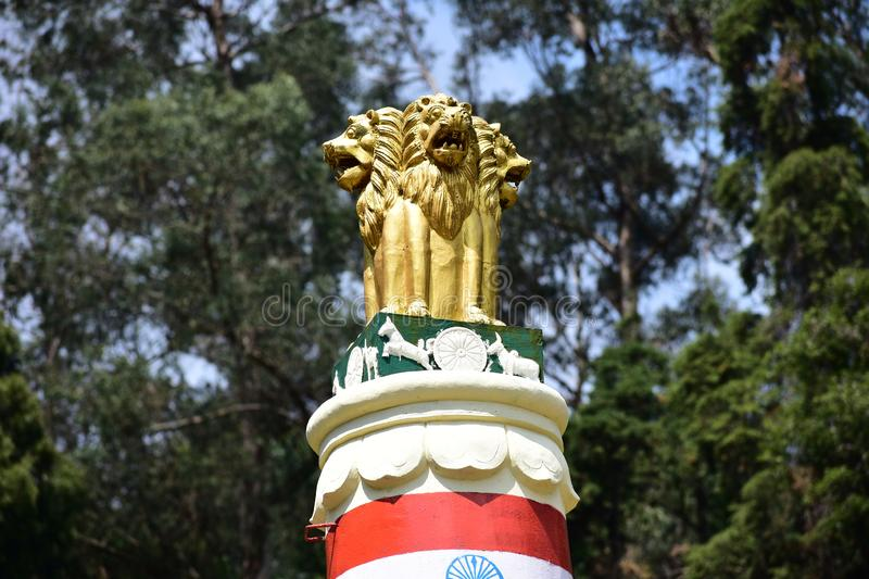 Kodaikanal, Tamilnadu, India - June 2, 2019: The Lion Capital of Ashoka royalty free stock photography