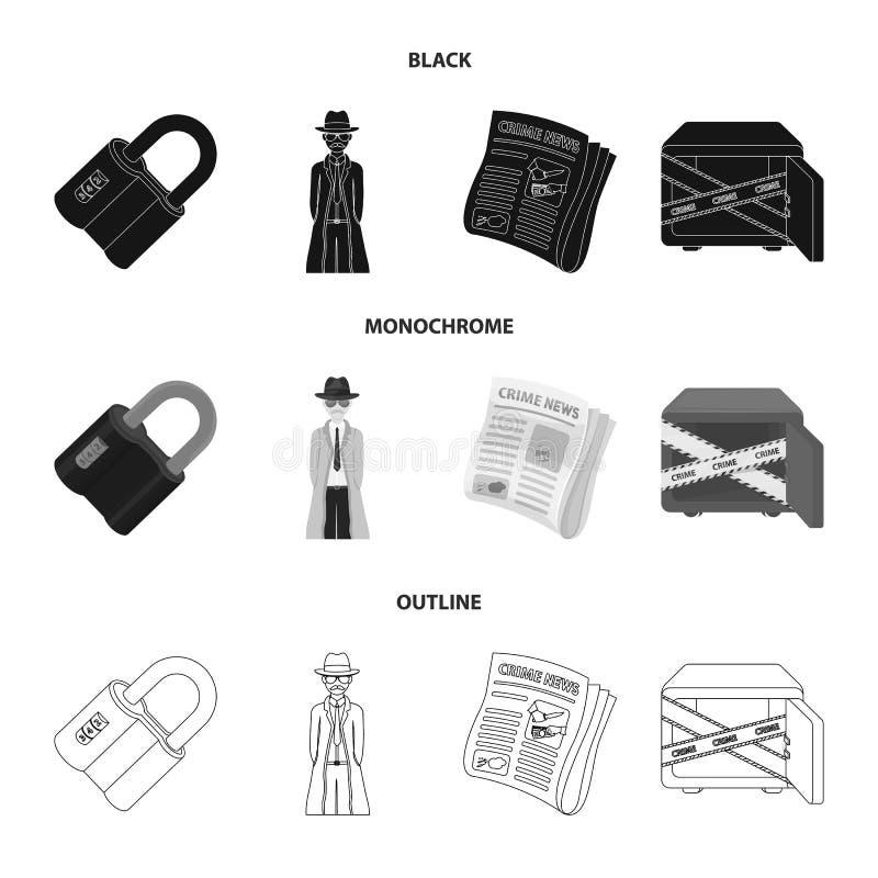 Kodat lås, utseendet av kriminalaren, en tidning med brottslig nyheterna, ett hackat kassaskåp Brott- och kriminalareuppsättning royaltyfri illustrationer