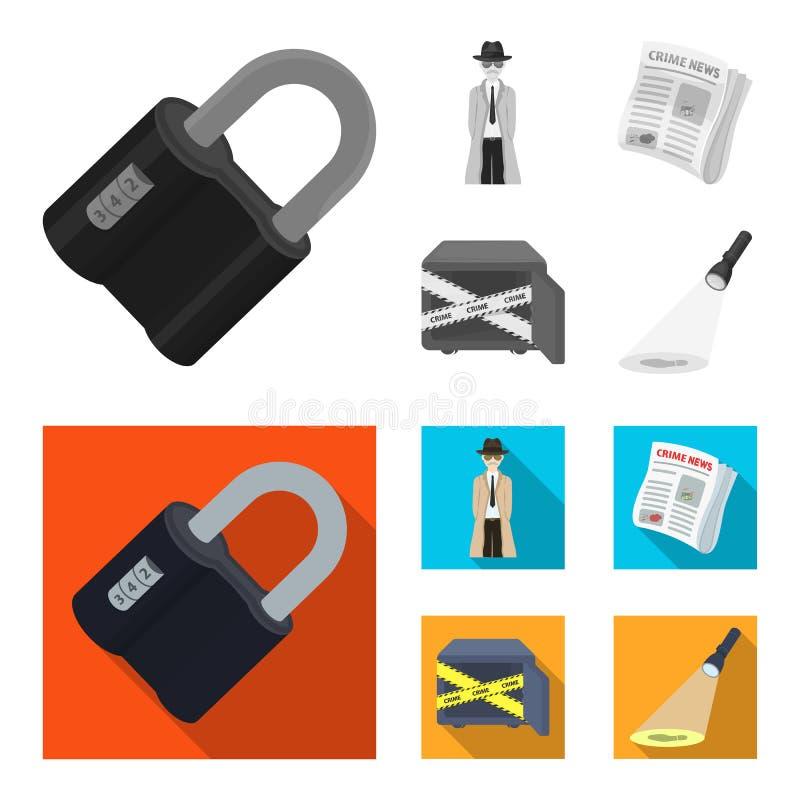 Kodat lås, utseendet av kriminalaren, en tidning med brottslig nyheterna, ett hackat kassaskåp Brott- och kriminalareuppsättning stock illustrationer