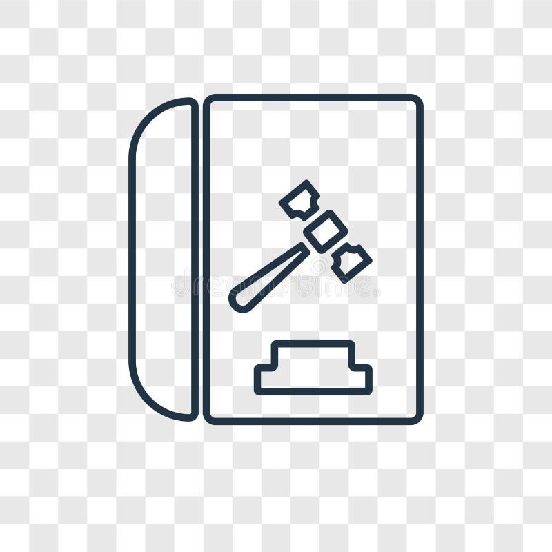 Kodeks zachowania pojęcia wektorowa liniowa ikona odizolowywająca na transpare ilustracji