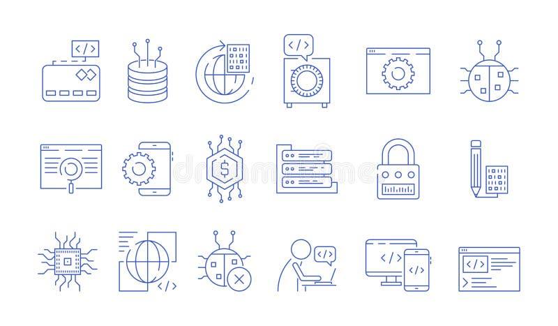 Koder ikony Programisty oprogramowania wkładu biegłe końcówki wykonują grono pluskw dylemata systemów Java kodu probierczego wekt ilustracja wektor
