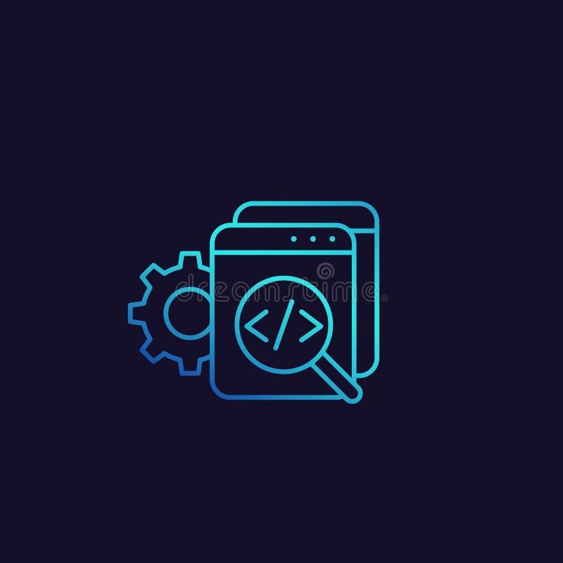 Kodgranskning, programvara, symbol för apputvecklingsvektor royaltyfri illustrationer