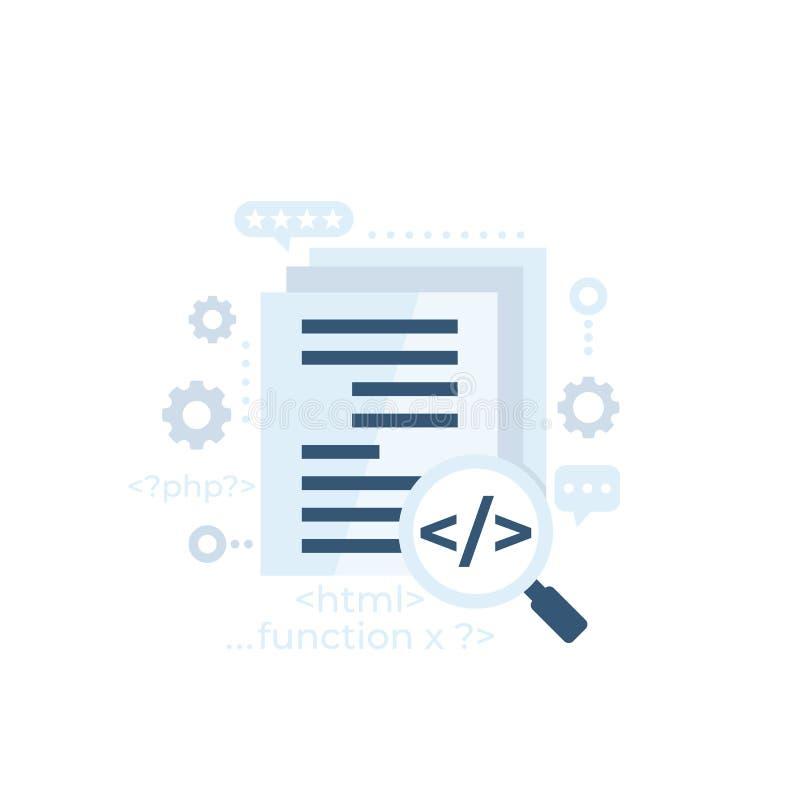 Kodgranskning, vektor för programvaruutveckling stock illustrationer