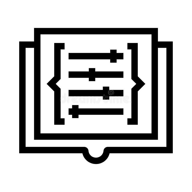Kodieren Sie Einstellungsvektorlinie Ikone vektor abbildung