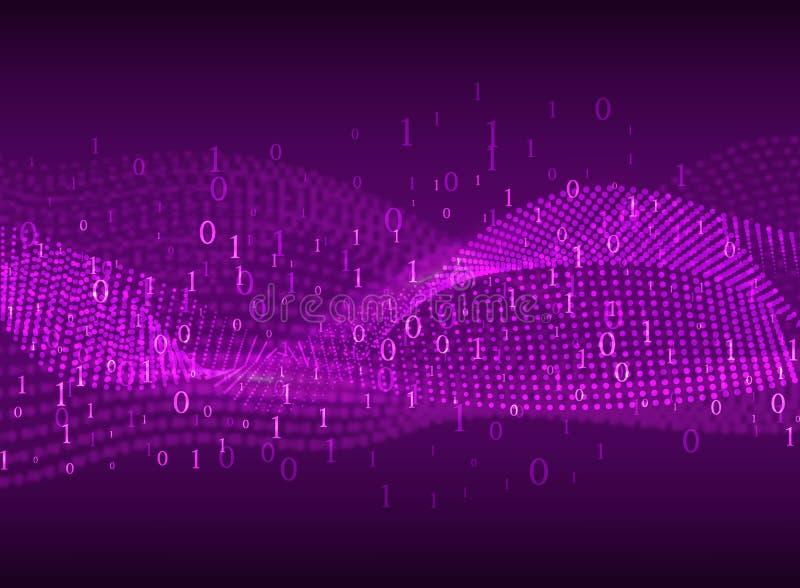 kodierung Abstrakter purpurroter Hintergrund mit unscharfen Linien und Zahlen stock abbildung