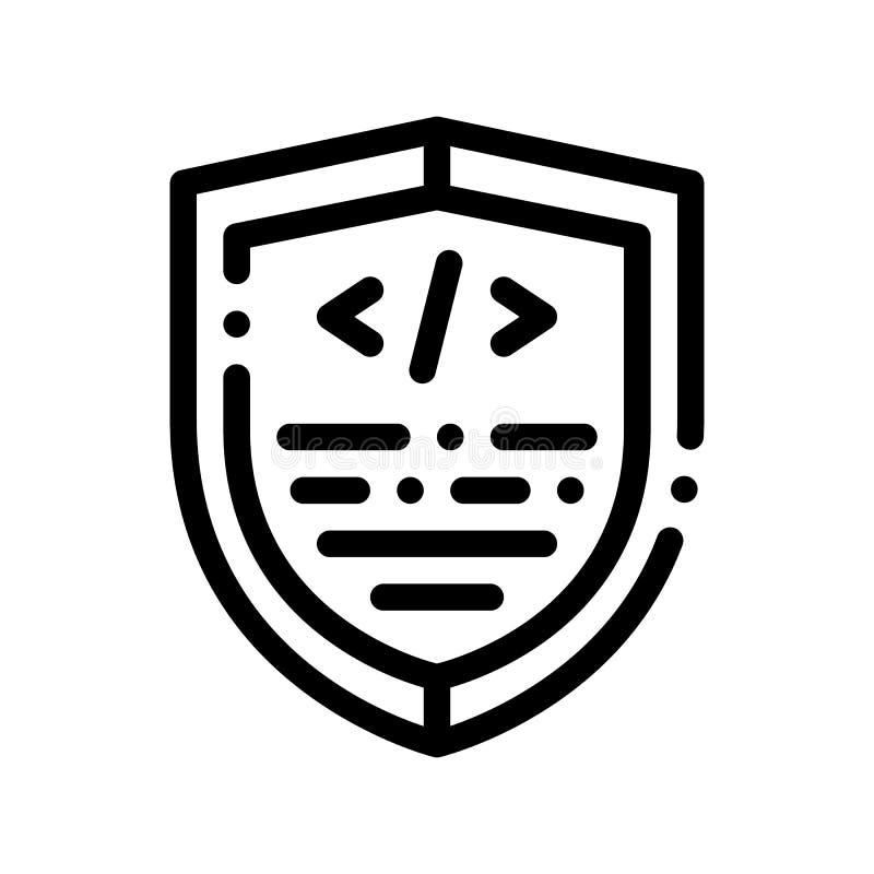 Kodierung der Antivirus-Programm-Vektor-dünnen Linie Ikone vektor abbildung