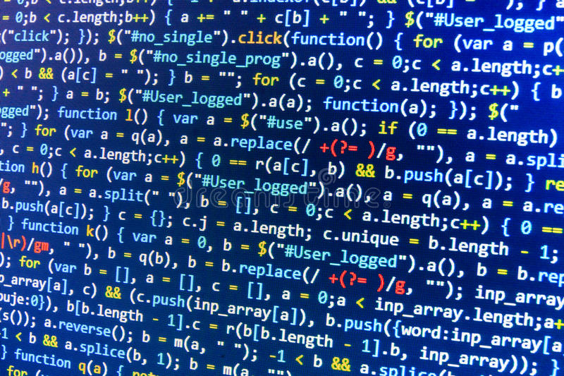 Kodierung des Programmierungsquellcodeschirmes Bunte abstrakte Datenanzeige Softwareentwicklernetz-Programmskript lizenzfreie stockfotos
