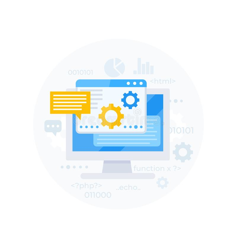 Kodierung, Softwareentwicklung, Appintegration lizenzfreie abbildung