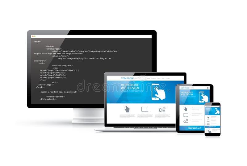 Kodierungswebsite zu modernem entgegenkommendem elektronischem De lizenzfreie abbildung