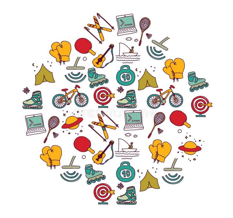 Kodifiera för turism för sport för hobbymanobjekt stock illustrationer