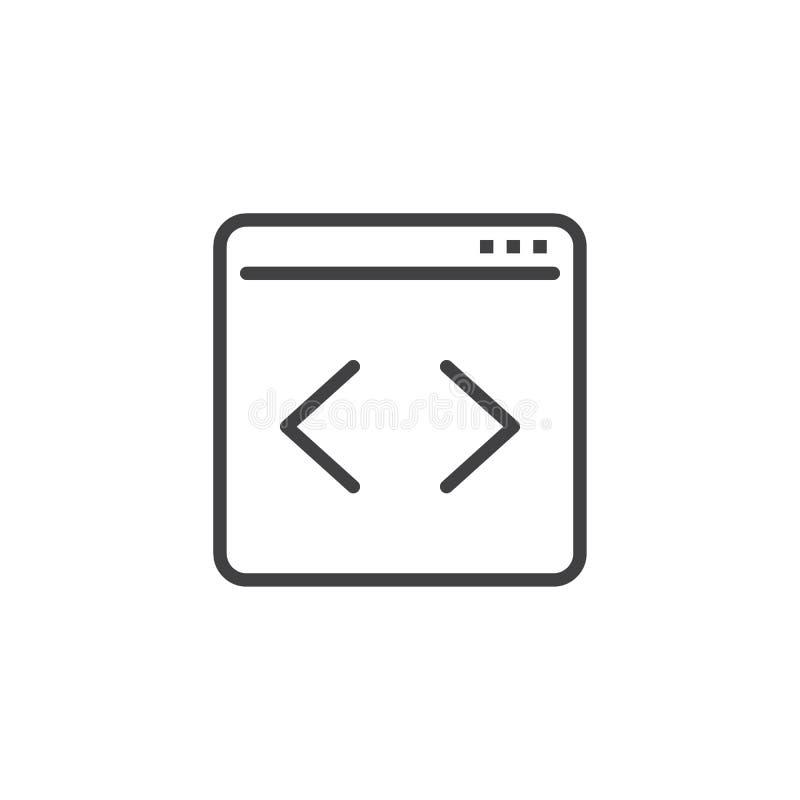 Kodifiera linje symbol för webbsida royaltyfri illustrationer