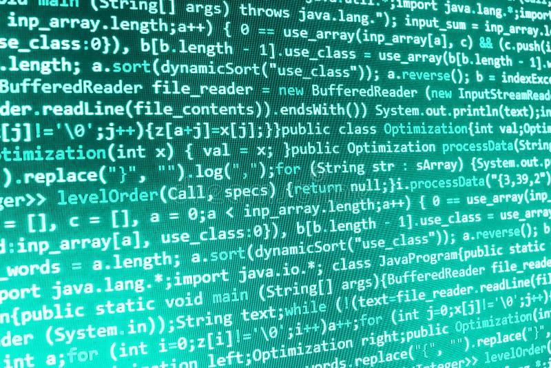 Kodifiera programmera skärmen för källkod arkivfoto