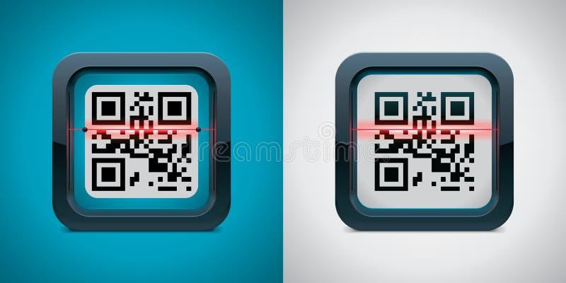 kodu ikony qr przeszukiwacza wektor ilustracji