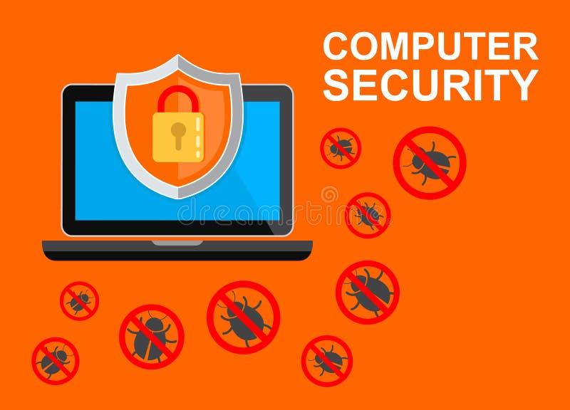 kodu komputerowy pojęcia programa ochrony wirus Laptop z osłoną i kędziorkiem na stole Płaska wektorowa ilustracja ilustracji