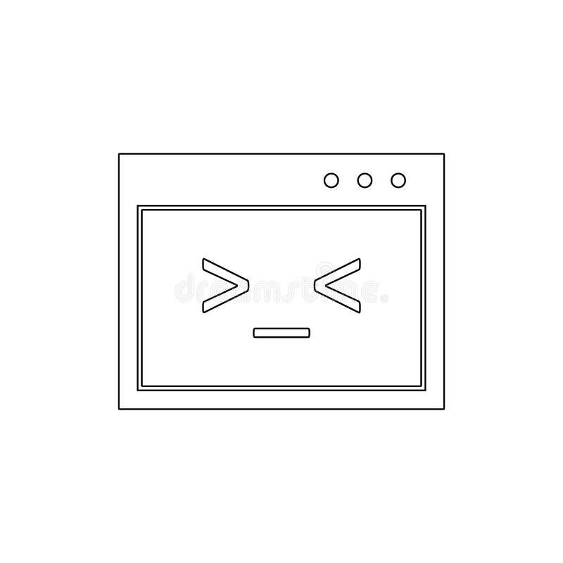 Kodu pisma skorupy Unix konturu ikona Znaki i symbole mog? u?ywa? dla sieci, logo, mobilny app, UI, UX ilustracji