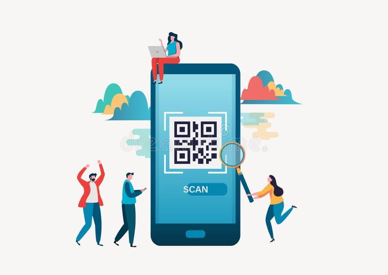 kodu qr skanerowanie Ludzie obrazu cyfrowego qr kodu dla zapłaty przez smartphone Płaski wektorowy ilustracyjny nowożytny charakt royalty ilustracja