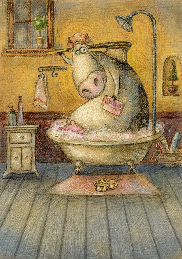 Koe in de badkamers stock illustratie