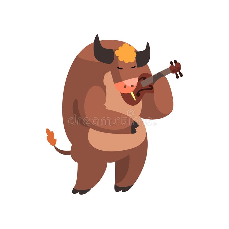 Koe die de viool, het leuke karakter van het musicus dierlijke beeldverhaal met muzikale instrumenten vectorillustratie spelen op royalty-vrije illustratie