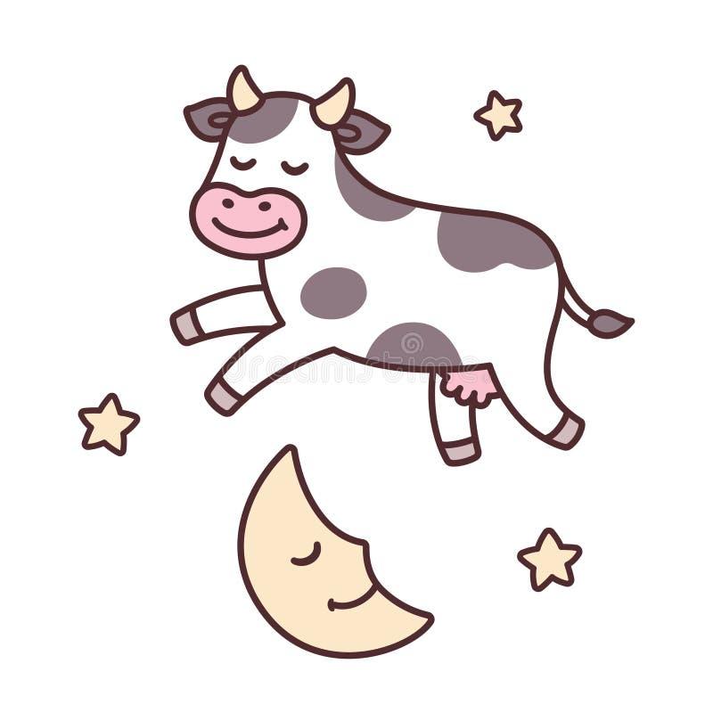 Koe die over Maan springt royalty-vrije illustratie