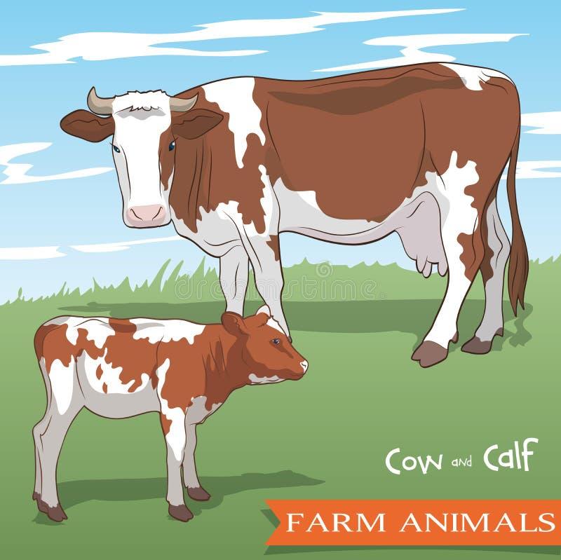 Koe en haar kalf die in de weide weiden vector illustratie