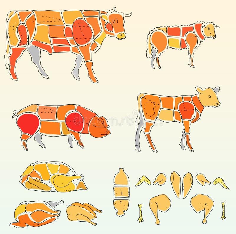 Koe en kip vector illustratie