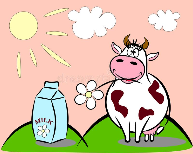 Koe en Melk stock illustratie
