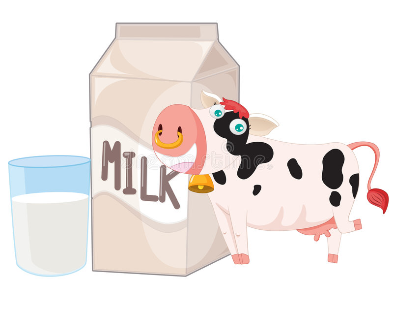 Koe en melk vector illustratie