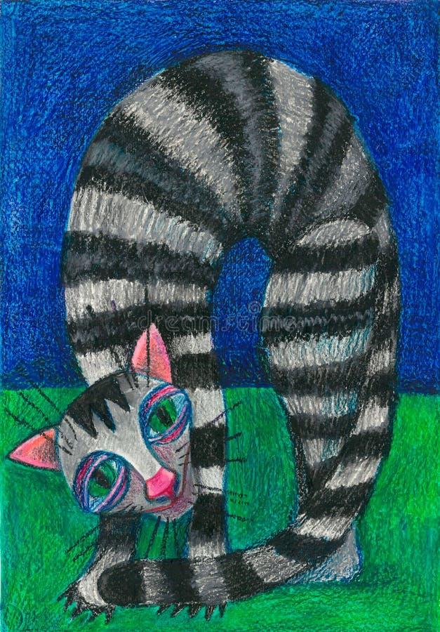 Koe en stier De kat die van de gestreepte kat de camera bekijkt stock illustratie