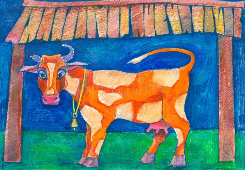 Koe en stier Dichte omhooggaand van het hoofd van een koe vector illustratie