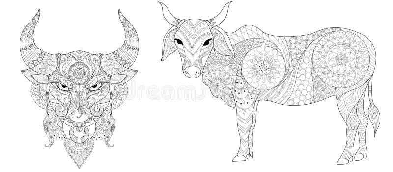 Koe en stieren de inzameling voor druk en kleuring boekt pagina voor antispanning Vector illustratie vector illustratie