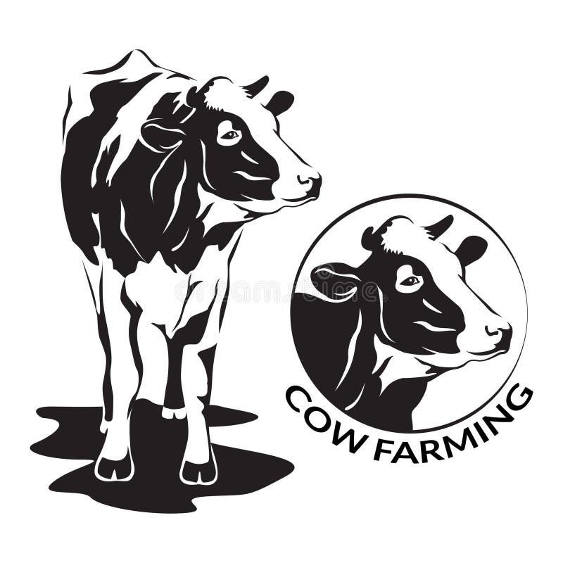 Koe gestileerd symbool en koe hoofdportret, landbouwbedrijfdier vector illustratie