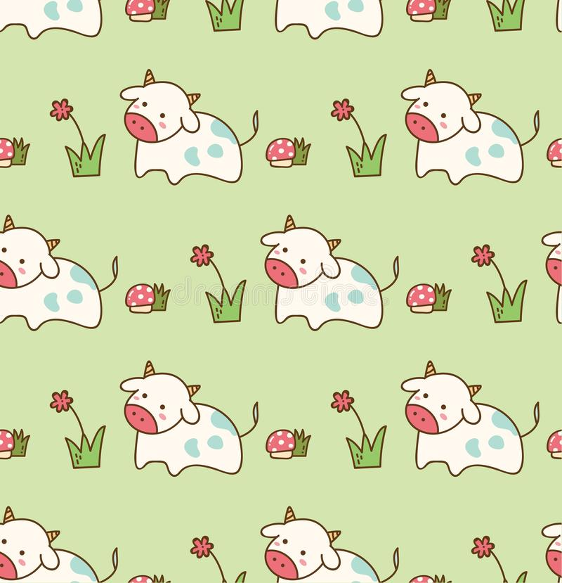 Koe in het gras met bloem en paddestoel naadloos patroon stock illustratie