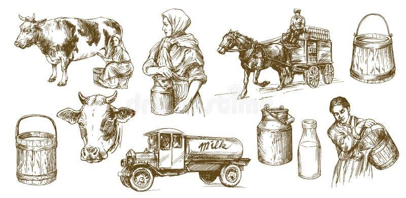 Koe, melk, zuivelproduct stock illustratie