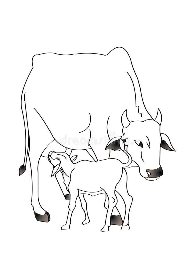 koe met kalf stock illustratie illustratie bestaande uit