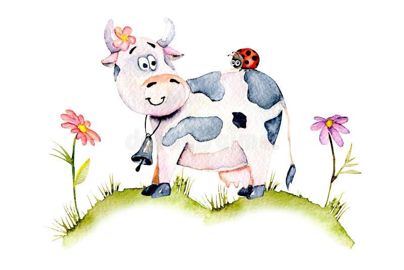 Koe van het waterverf de leuke beeldverhaal op een weide, lieveheersbeestje en eenvoudige bloemen stock illustratie