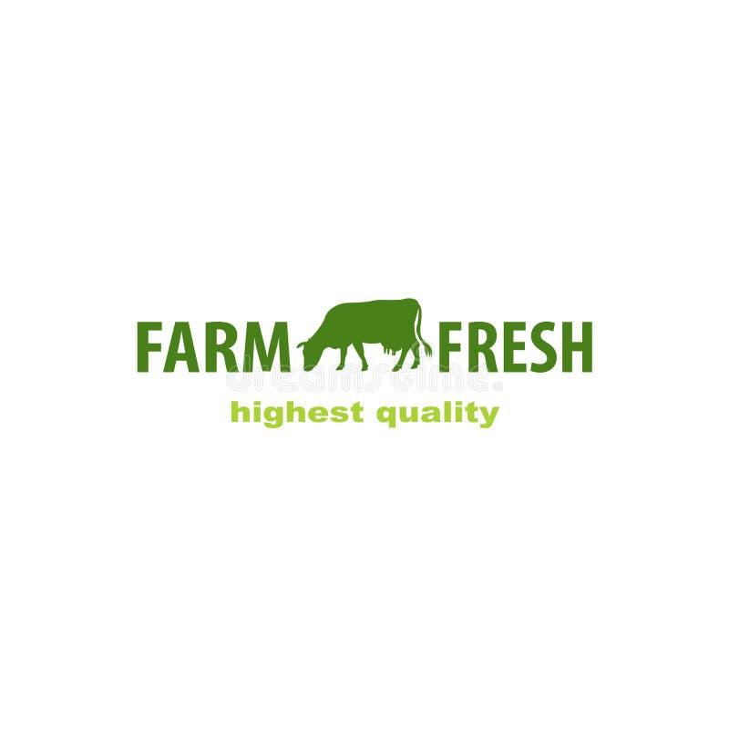 Koeembleem Het embleem van de landbouwbedrijfmelk Geïsoleerde voorwerpen vector illustratie
