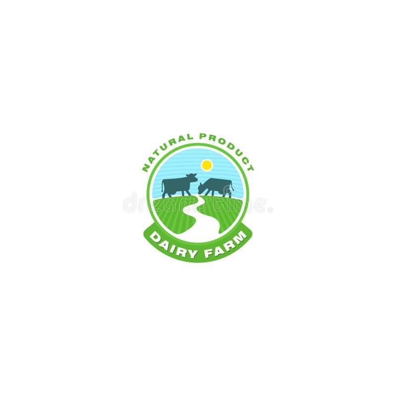 Koeembleem Het embleem van de landbouwbedrijfmelk Organisch zuivelproductembleem vector illustratie