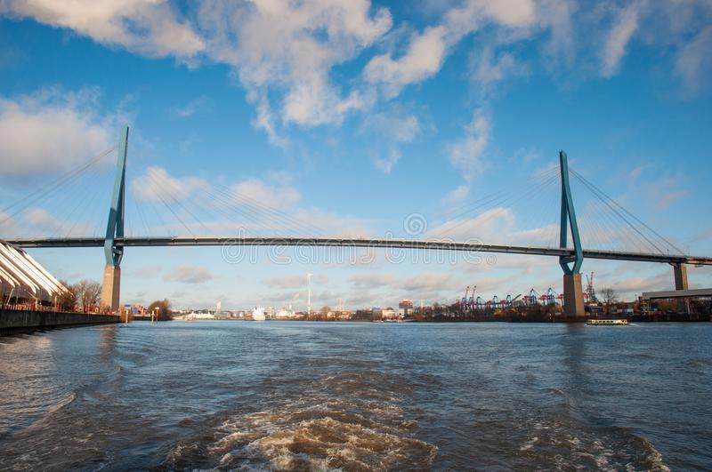 The Koehlbrand bridge. In city of Hamburg in Germany stock photography