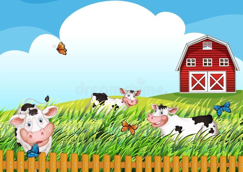 Koeien bij het landbouwbedrijf royalty-vrije illustratie