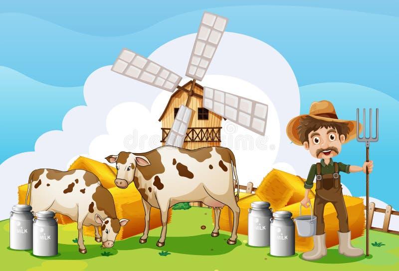 Koeien bij het landbouwbedrijf stock illustratie