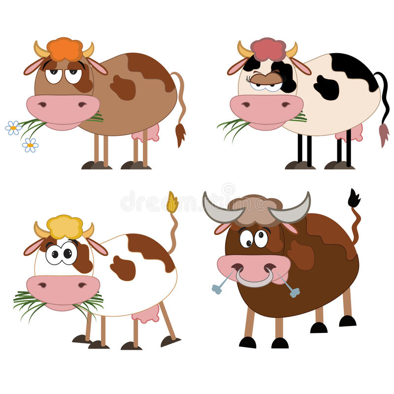 Koeien en stier, reeks. royalty-vrije illustratie