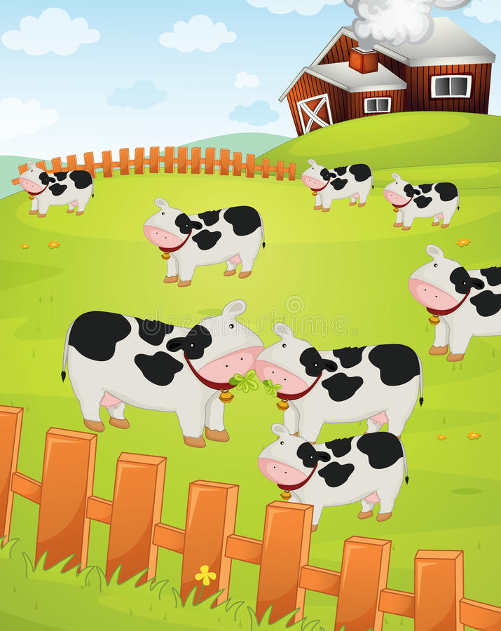 Koeien op een gebied stock illustratie
