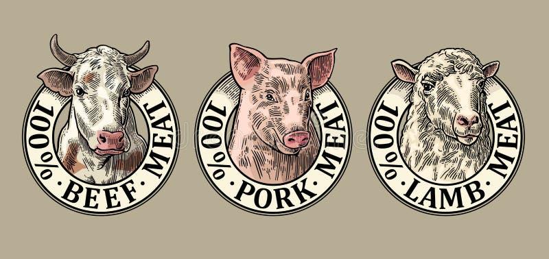 Koeien, varken, schapenhoofd 100 percenten het lamsvlees van het rundvleesvarkensvlees het van letters voorzien Uitstekende gravu vector illustratie