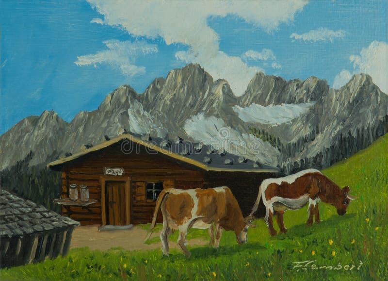Koeien voor een alpiene hut met bergen op de achtergrond stock illustratie