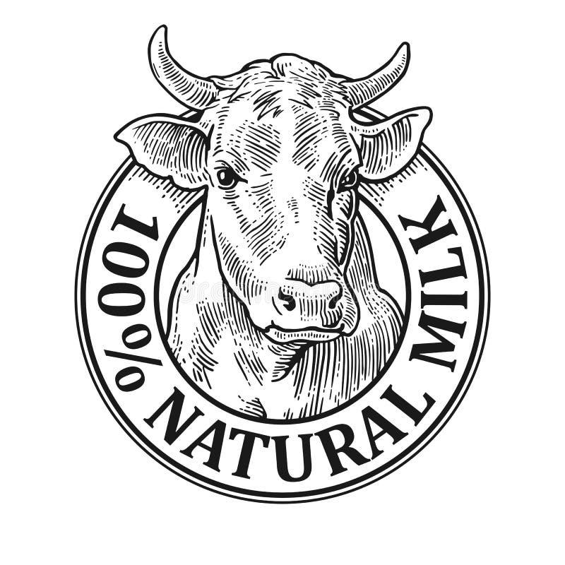 Koeienhoofd 100 natuurlijke Melk Uitstekende vectorgravure stock illustratie