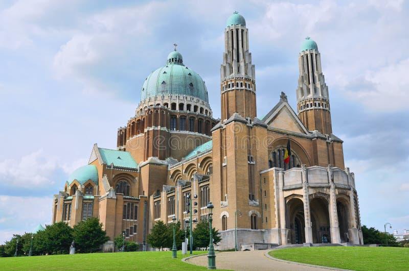 Koekelberg布鲁塞尔的大教堂符号 库存照片