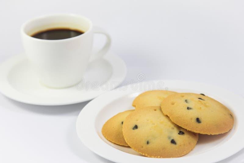 Koekje met koffie stock afbeeldingen