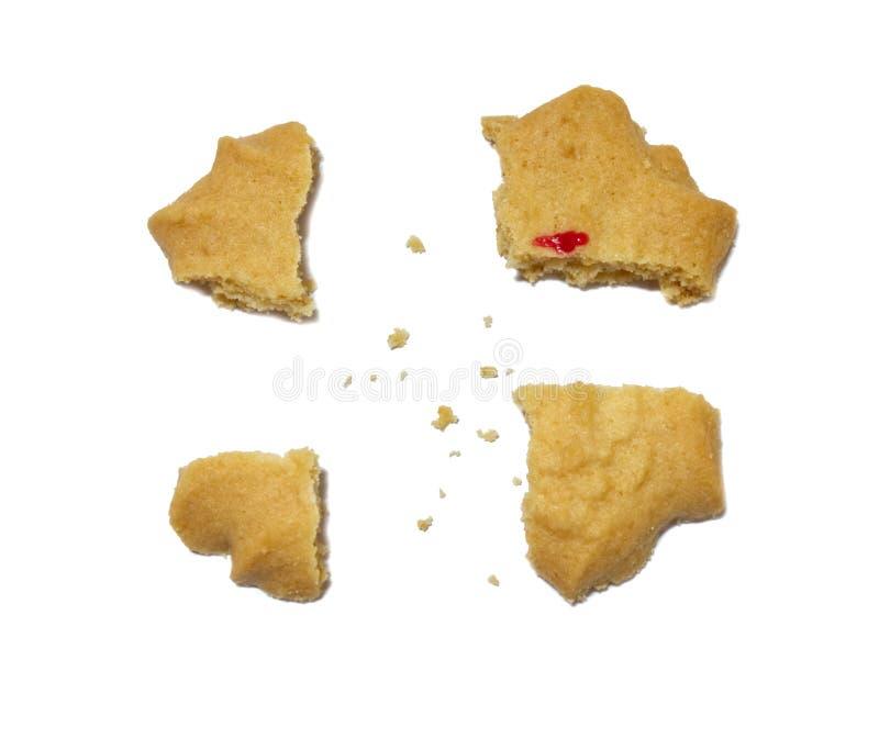 Koekje met op smaak gebrachte melk, Boter en honing Gebroken van knapperige heerlijke zoete maaltijd en nuttig koekje stock foto's