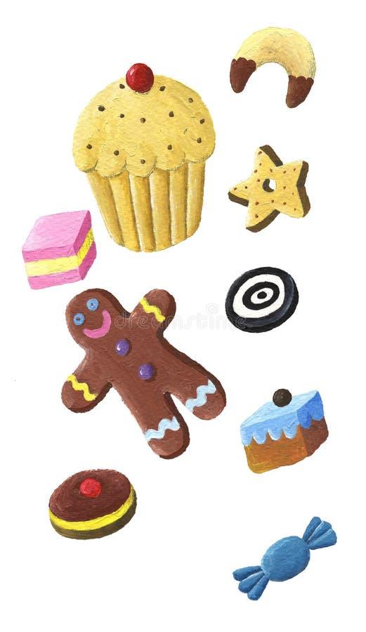 Koekje, suikergoed en muffin royalty-vrije illustratie